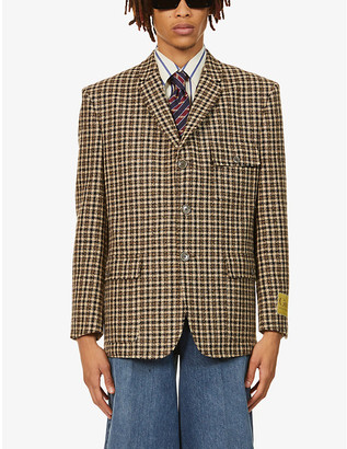Gucci Checked padded-shoulder wool-blend jacket
