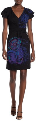 Desigual Printed Gathered Waist Dress