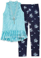Knitworks Knit Works Victorian Lace Top Legging Set with Necklace - Girls' 4-16 & Plus