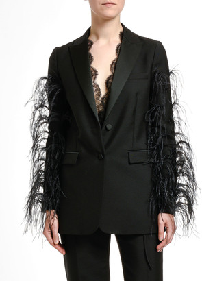 Valentino Feather-Trim Wool Blazer Jacket