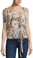 Buffalo David Bitton Floral Ruffle Tank Top