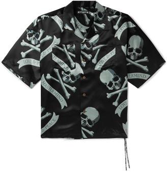 MASTERMIND WORLD - Camp-Collar Logo-Print Silk Shirt - Men