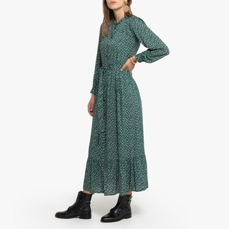 La Redoute Collections Floral Print Maxi Dress with Tie-Waist Long Sleeves