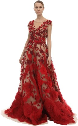 Marchesa Embellished Tulle & Silk Organza Dress