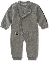 Calvin Klein Baby Boys' Marled Asymmetrical-Zip Coverall