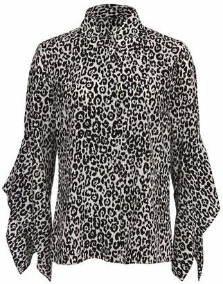 Michael Kors Leopard Silk Draped-Sleeve Blouse