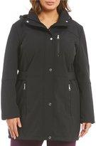 Calvin Klein Plus Soft Shell Tab Waist Hooded Coat