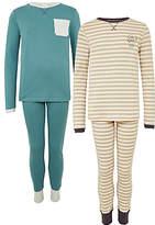 John Lewis Children's Printed Waffle Pyjamas, Pack of 2, Blue And Multi