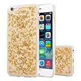 iPhone 6 Plus / iPhone 6s Plus Case, Moonmini Slim Fit Luxury Bling Glitter Sparkling Shiny Flexible Soft TPU Gel Gold Foil Protective Back Case Cover Golden