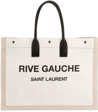 Saint Laurent Noe Cabas Large Rive Gauche Canvas Tote Bag