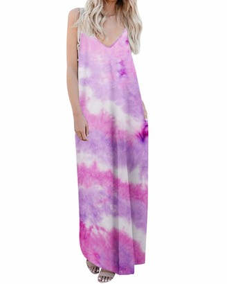 kenoce Women's Summer Dress Floral Print V Neck Sleeveless Long Maxi Dresses Pocket Dress Boho Cocktail Beach Loose Casual Sundress Floral L