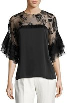 Sachin + Babi Mina Silk Lace-Yoke Blouse