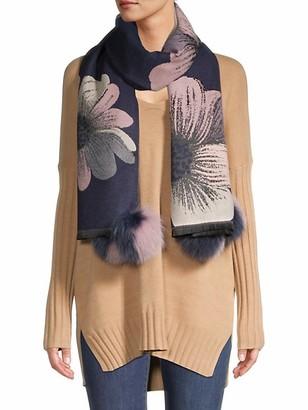 La Fiorentina Tina Fox Fur Pom-Pom Floral Scarf
