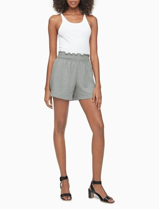 "Calvin Klein Gauze Smock Waist 4"" Shorts"