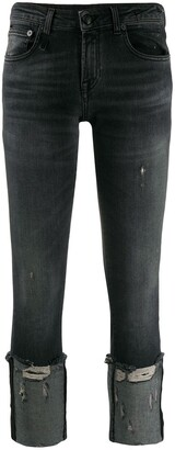 R 13 Cropped And Distressed Skinny Fit Jeans