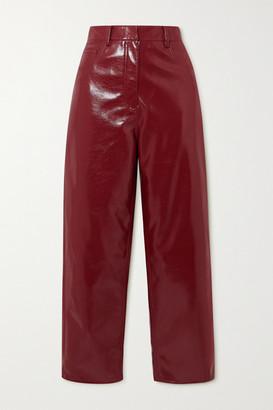 Tibi Faux Patent-leather Wide-leg Pants - Brown