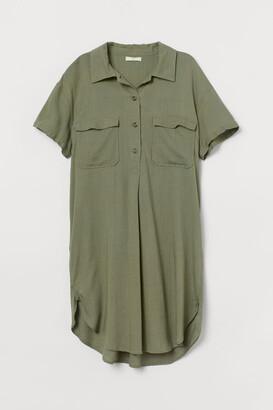 H&M Linen-blend Utility Dress - Green