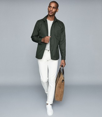 Reiss Pudra - Lightly Padded Coach Jacket in Green