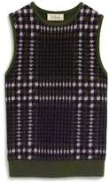 Mulberry Callie Tank Top Deep Olive Tri Colour Check Cashmere Blend