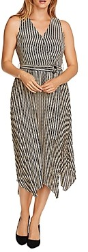 Vince Camuto Geo Decor Handkerchief Midi Dress