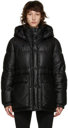 Yves Salomon Army Black Down and Lambskin Oversize Puffer Coat