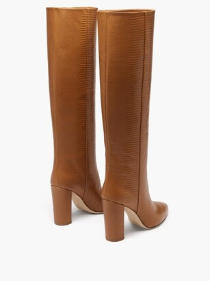 Paris Texas Knee-high Lizard-effect Leather Boots - Tan