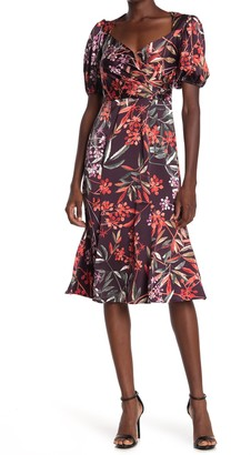 London Times Bloom Berries Fit & Flare Dress