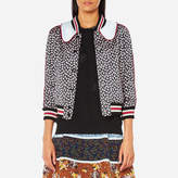 Coach Women's Printed Intarsia Collar Varsity Jacket Black Multi