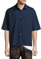 Vince Boxy-Fit Half-Sleeve Shirt, Navy
