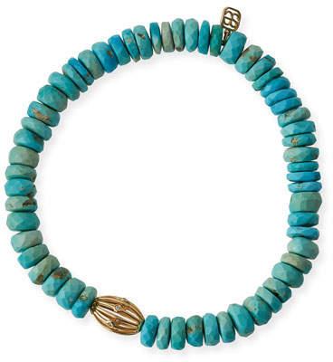 Sydney Evan 8mm Turquoise Beaded Bracelet w/ 14k Diamond Ball Charm