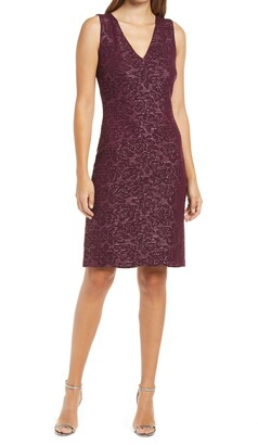 Donna Ricco Ottoman Foil Sleeveless Sheath Dress