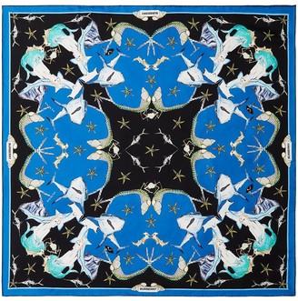 Burberry Sea Life-Print Silk Scarf
