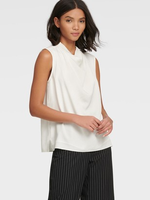 DKNY Women's Funnel-neck Top With Cap Sleeves - Ivory - Size XX-Small