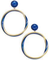 Kate Spade Gold-Tone Blue Enamel Twisted Gypsy Hoop Earrings