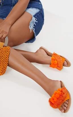 PrettyLittleThing Orange Pom Pom Leather Sandal