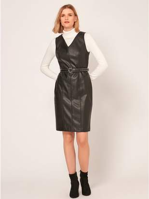 M&Co Faux leather pinafore dress
