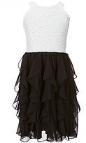 Xtraordinary Big Girls 7-16 Glitter Lace A-Line Cascade Dress
