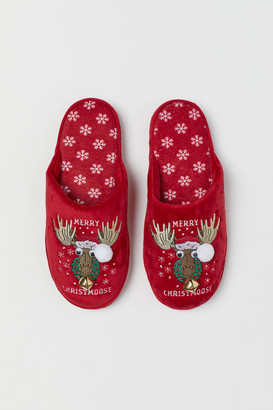 H&M Soft Velour Slippers - Red