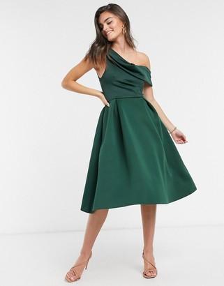 ASOS DESIGN drape fallen shoulder prom midi dress in forest green