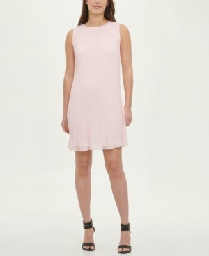 DKNY Sleeveless Pleated Shift Dress