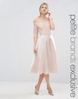 True Decadence Petite Lace Bardot Midi Prom Dress