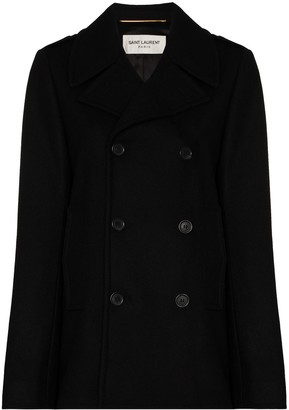Saint Laurent Double-Breasted Peacoat
