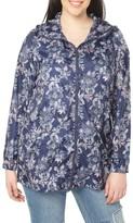 Evans Plus Size Women's Floral Print Rain Jacket