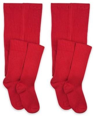 Jefferies Socks Girls Socks, 2 Pack School Uniform Classic Rib Cotton Tights Sizes 2-4 years - 10 - 14 years