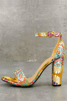 Bamboo Veda Yellow Brocade Ankle Strap Heels