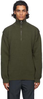 Nanamica Green Knit Zip-Up Sweater