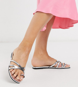 London Rebel wide fit toe loop strappy mule sandals in silver