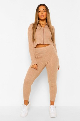 boohoo Petite Soft Knit Rib Leggings