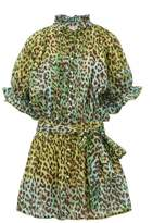 Juliet Dunn Leopard-print Cotton-gauze Shirtdress - Womens - Green Print