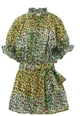 Juliet Dunn Leopard-print Cotton-gauze Shirtdress - Womens - Green Print